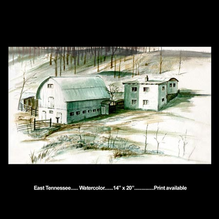 East Tennessee landscape watercolor