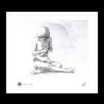 Nude study girl sitting print