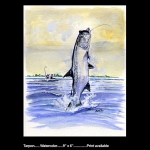 Tarpon Jumping watercolor print